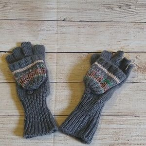 Accessories - Grey and Pink Glittery Knit Mittens